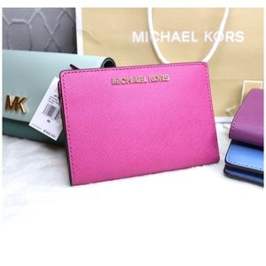 NWT Michael Kors Pink Wallet + Card Case Carryall